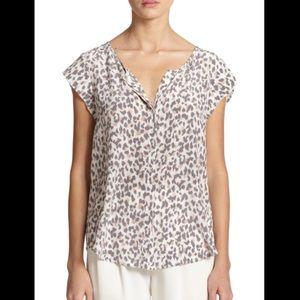 Joie 100% silk blouse leopard print sz M